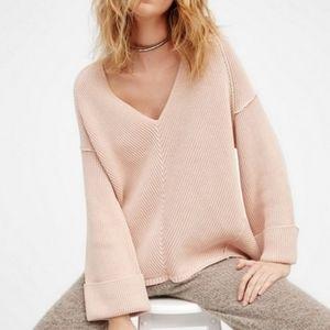 FREE PEOPLE Pink La Brea V Knit Neck Sweater